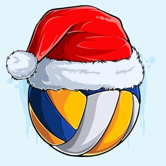Funny christmas volleyball ball with santa claus hat xmas holidays sport ball