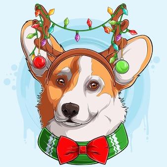 Забавная рождественская голова собаки вельш-корги-пемброк в рогах северного оленя с огнями рождественская собака-корги
