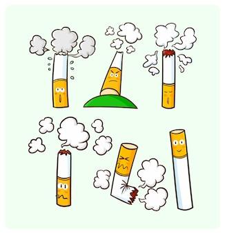 Забавные персонажи сигарет в стиле каракули каваи