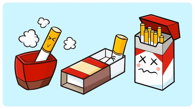 간단한 낙서 스타일의 항목 컬렉션에 재미있는 담배