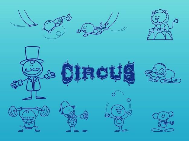 Funny circus acrobats artists vector