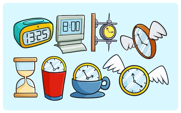 Funny clock collections in simple doodle style