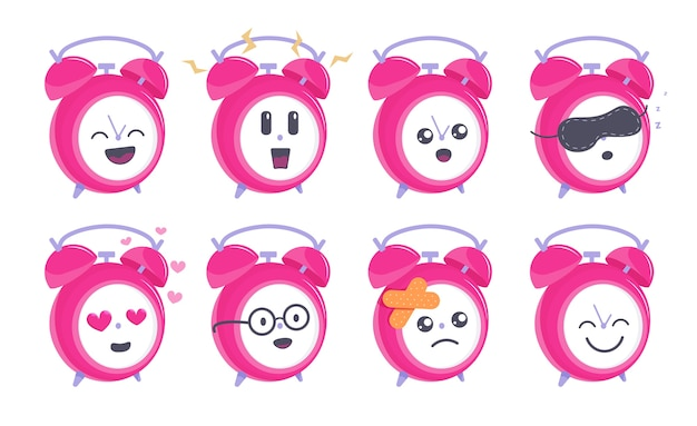 Funny clock. funny round alarm clock mascot character showing different emotion icon set illustration.