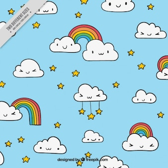 Funny clouds background with stars and rainbows