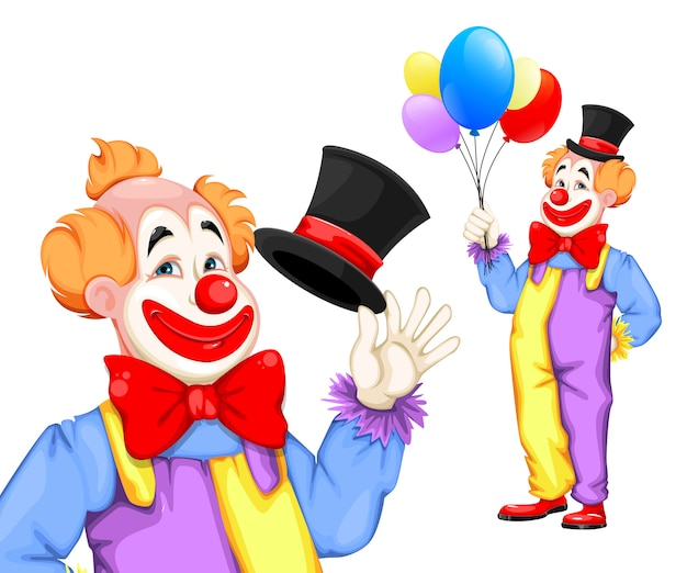 Funny clown. april fool's day. circus day