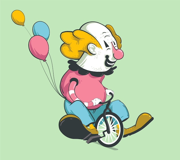 Funny clown on bike with ballons