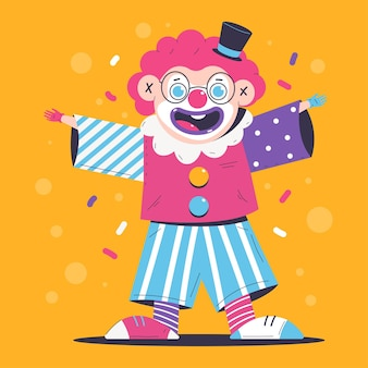 Funny clown cartoon character isolated on background.