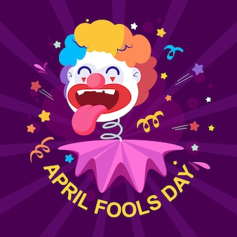 Funny clown flat illustration for fools day, april fools day greeting card