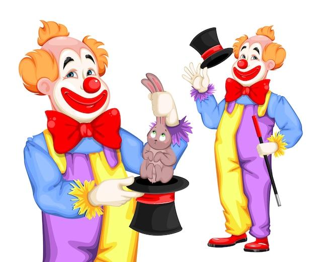 Funny clown. magician show.
