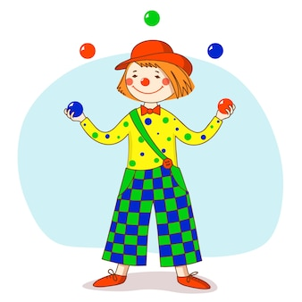 Funny clown in a red hat juggles balls.