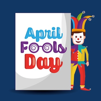 Funny clown standing with lettering april fools day