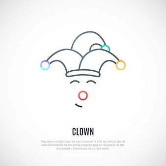 Funny clown thin line icon isolated