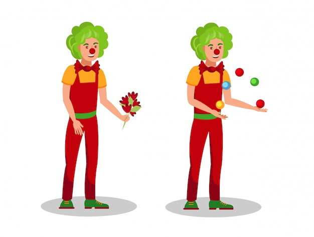 Funny clowns tricks flat color vector illustration