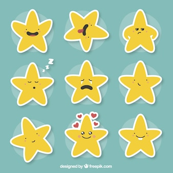 Divertente collezione di stelle espressive