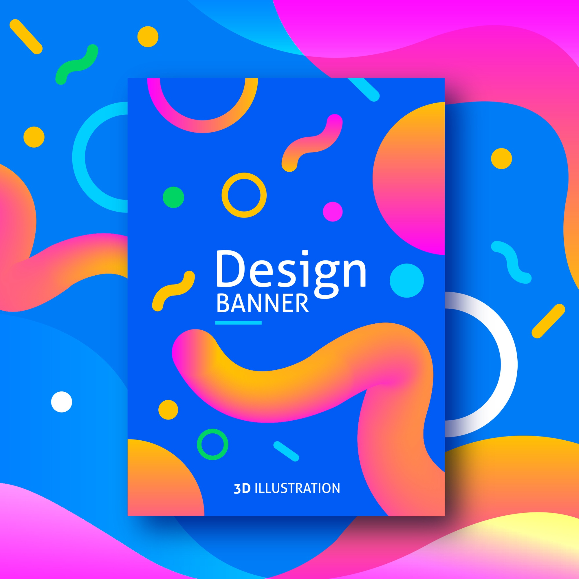 Funny colored banner with 3d shapes