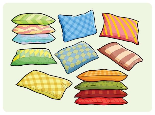 간단한 만화 스타일의 재미있는 다채로운 큰 베개 컬렉션