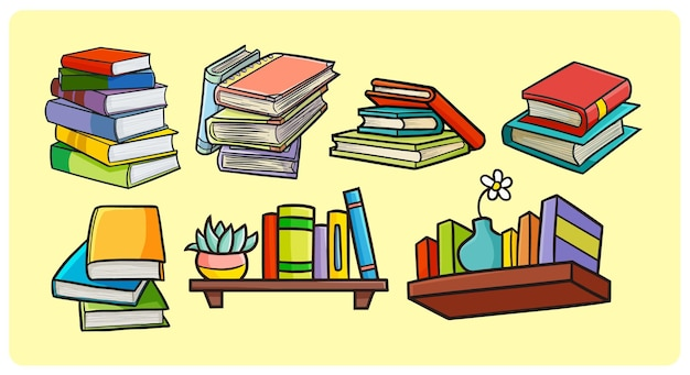 Funny colorful books collection in simple doodle style