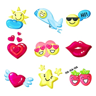 Funny colorful cartoon colorful glossy smile mascot set  illustration on a white background