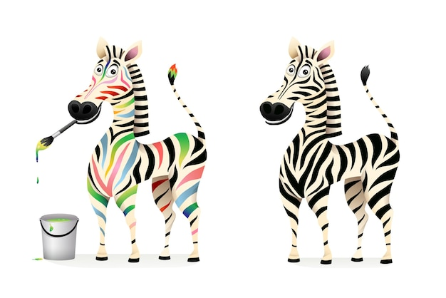 Funny colorful drawing zebra artist and black and white zebra cartoon for kids. african animal character design, 3d cartoon graphic.