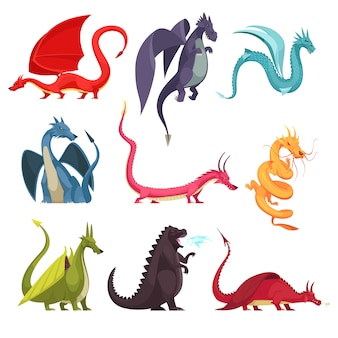 Funny colorful fire breathing dragons monsters weird snake like creatures flat cartoon icons set isolated