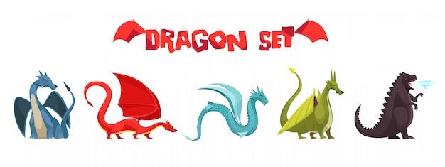 Смешные красочные огнедышащие драконы монстры странные змеиные существа плоские мультфильм иконки набор изолированных