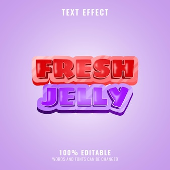 Funny colorful fresh jelly game logo title editable text effect