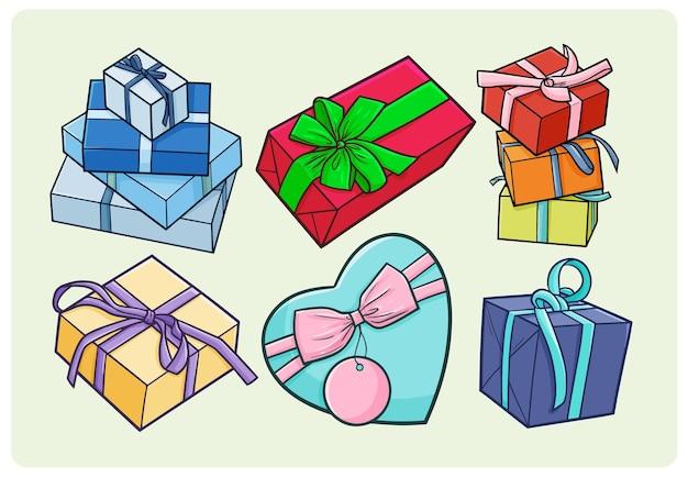 간단한 낙서 스타일의 재미있는 다채로운 선물 상자 컬렉션