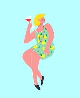 Funny and colorful party alone blonde woman drinking wine in the bar. girlish   .