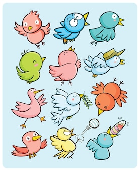 만화 스타일에 재미 있는 다채로운 둥근 handdrawn 새