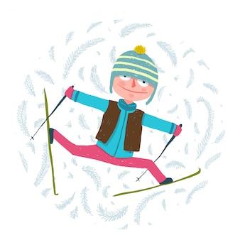冬の服の漫画で運動面白いカラフルなスキーヤー