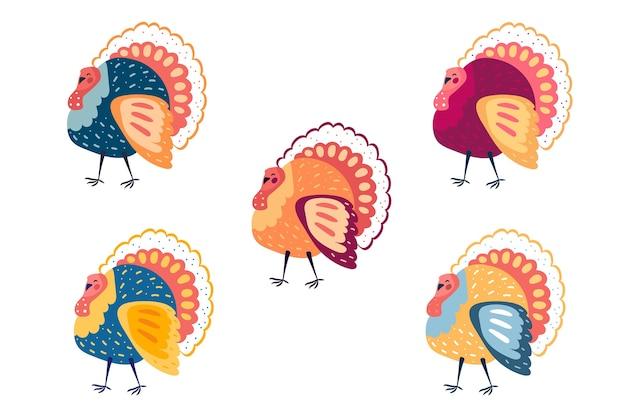 面白いカラフルな七面鳥のクリップアート。感謝祭の要素。