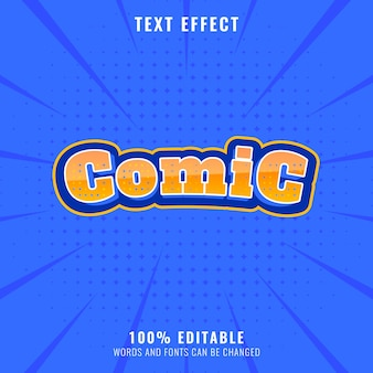 Funny comic editable text effect with halftone design