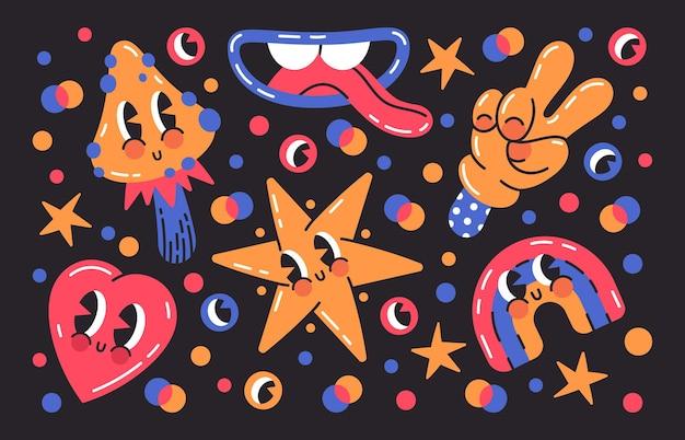 Смешные комиксы смайликов формируют милые комиксы каракули персонажей мультфильма векторные иллюстрации набор