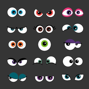 Funny comic monster eyes isolated on gray