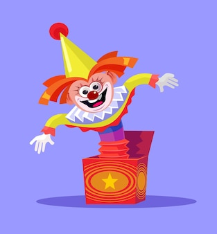 Funny comic smiling clown joker jack toy jumping in box.
