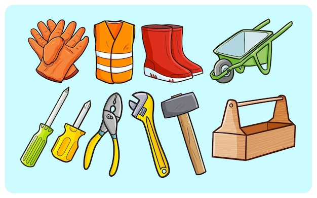 Забавная коллекция строительного рабочего оборудования