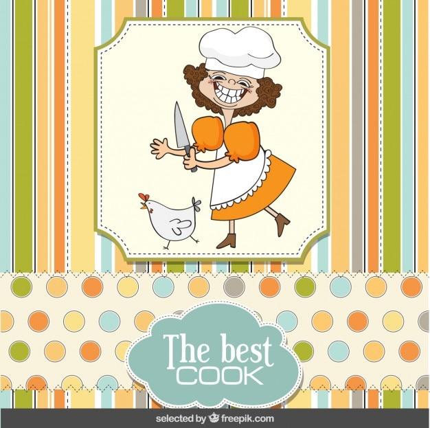 스크랩북 스타일의 재미있는 요리사 카드