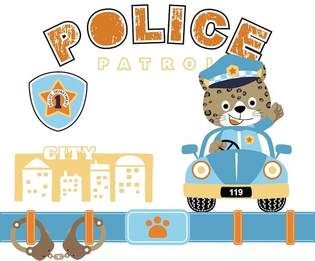순찰차에 재미있는 경찰 만화