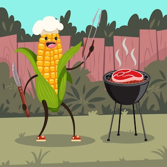 Funny corn in a chef hat with barbecue.   cartoon cute character of a happy vegetable with bbq tools cooking steak on the grill on the backyard.