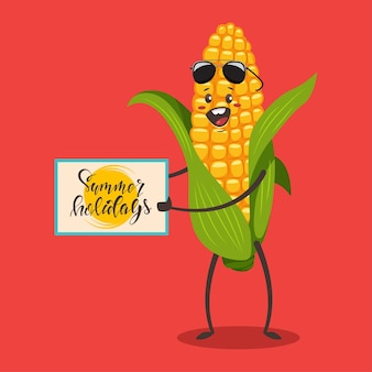 Funny corn in sunglasses vector cartoon character isolated on background.