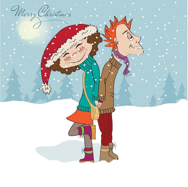 Забавная пара зимой