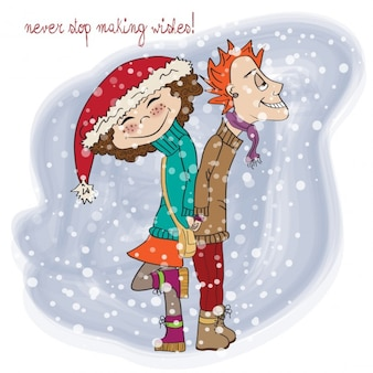 Funny couple in the winter