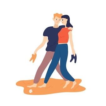 재미있는 커플은 맨발로 모래 해변을 따라 걷고 낭만적인 데이트 동안 신발을 들고 있습니다. 야외에서 함께 시간을 보내는 귀여운 어린 소년과 소녀의 초상화. 플랫 만화 벡터 일러스트 레이 션.
