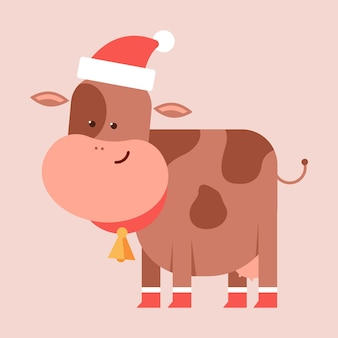 Funny cow in santa hat vector cartoon character isolated on background.