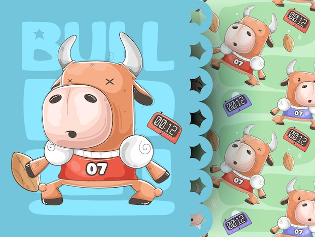 Funny cow with ball, sport pattern