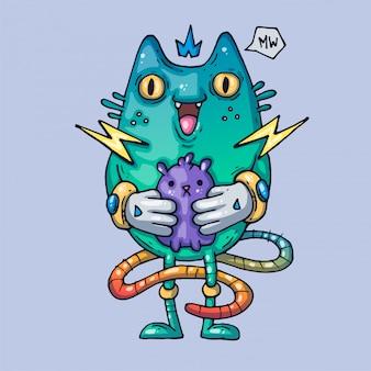 面白い狂気の猫。クリエイティブイラスト。 webおよび印刷用の漫画アート。