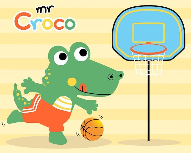Funny crocodile, basketball player