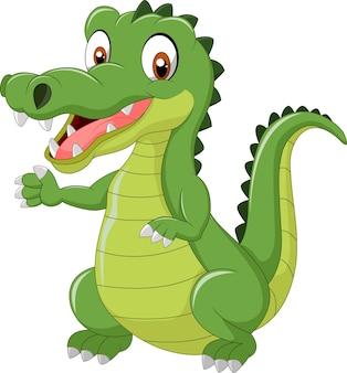 Funny crocodile standing