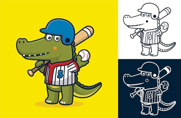野球のバットとボールを持っている間、野球ユニフォームを着ている面白いワニ。フラットアイコンスタイルの漫画イラスト