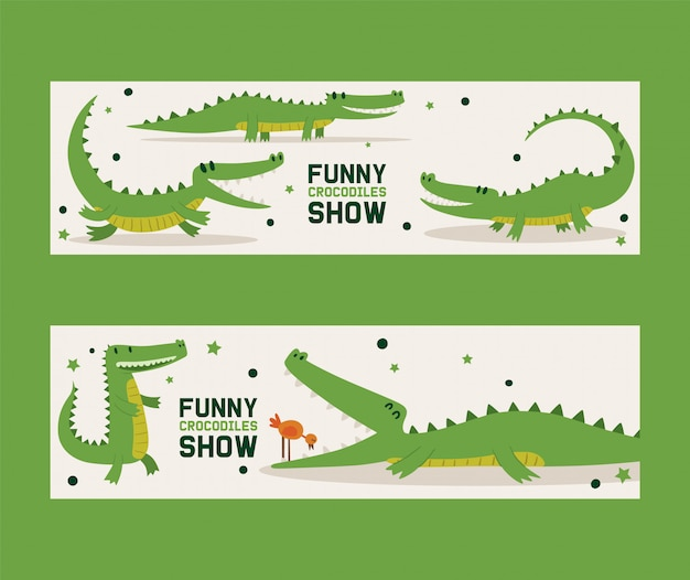 Funny crocodiles show set of banners vector illustration. bird standing in mouth of alligator. animal in different poses and activities, sitting